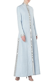 Sky Blue Embroidered Full Length Jacket by Kritika Universe