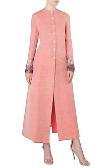 Blush Pink Embroidered Ankle Length Jacket by Kritika Universe