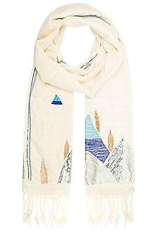 Off White Embroidered Scarf by Kritika Universe