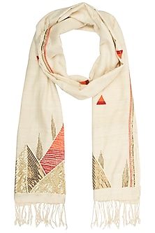 Off White Slub Textured Scarf by Kritika Universe