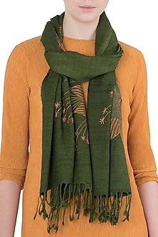 Olive Green Embroidered Ahimsa Scarf by Kritika Universe