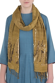 Brown Embroidered Ahimsa Scarf by Kritika Universe