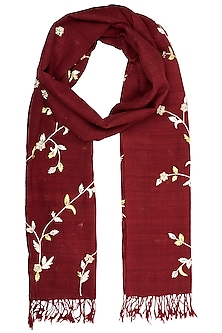 Red Handwoven Urban Embroidered and Printed Scarf by Kritika Universe