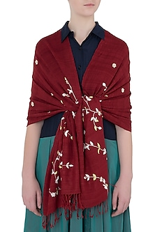 Red Handwoven Urban Embroidered and Printed Scarf