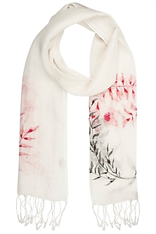 White Handwoven Urban Embroidered and Printed Scarf by Kritika Universe