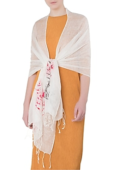 White Handwoven Urban Embroidered and Printed Scarf