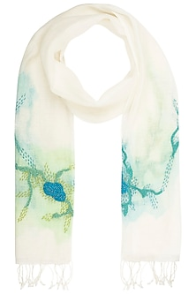Off White Handwoven Urban Embroidered and Printed Scarf by Kritika Universe