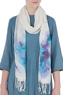 Ivory Mesh Woven Floral Embroidered Scarf