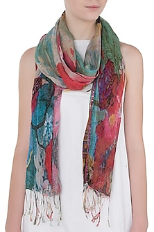 Dual Colored Mesh Woven Floral Embroidered Scarf