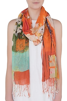 Orange and Hues Of Blue Mesh Woven Floral Embroidered Scarf by Kritika Universe