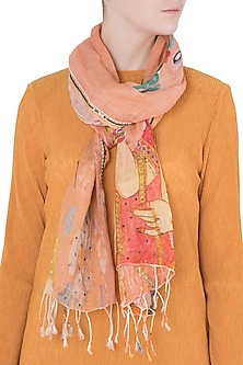 Orange Mesh Woven Floral Embroidered Scarf