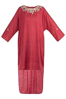 Maroon indo fusion embroidered tunic by KRITIKA UNIVERSE