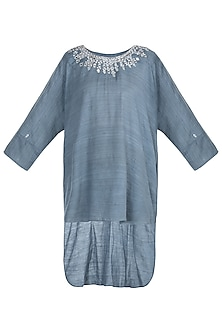 Grey indo fusion embroidered tunic