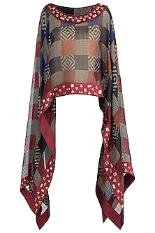 Black and maroon sheer embroidered ikat cape