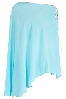 Bright blue embroidered cold shoulder cape