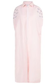 Light pink embroidered cape by KRITIKA UNIVERSE
