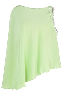 Green embroidered cold shoulder cape