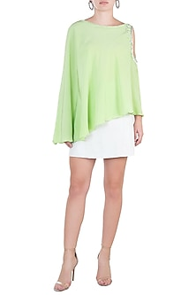 Green embroidered cold shoulder cape by KRITIKA UNIVERSE