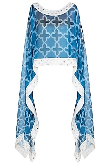 Blue and white sheer embroidered ikat cape