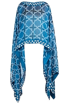 Blue sheer embroidered ikat cape by KRITIKA UNIVERSE