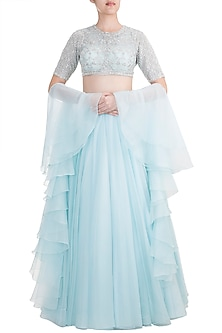 Frost Blue Embroidered Lehenga Set by Kehiaa by Kashmiraa