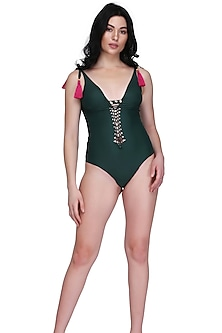 Emerald Green Seamless Swimsuit With Handwoven Knots by SALT SKIN