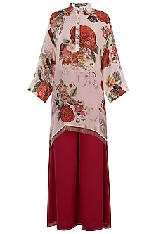 White printed rose cape kurta with pants