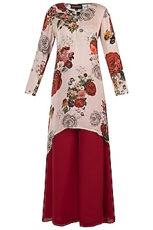 White printed rose kurta with pants