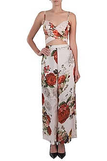 White printed rose crop top with pants by Kehiaa by Kashmiraa