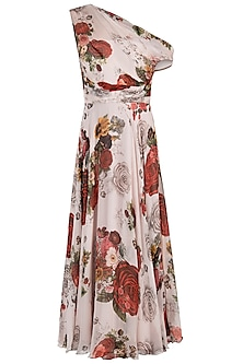 White printed rose maxi dress