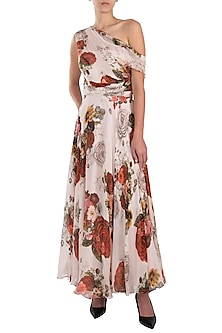 White printed rose maxi dress by Kehiaa by Kashmiraa