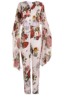 White printed rose dramatic sleeves jumpsuit