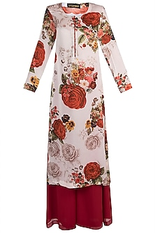 White printed rose long kurta with pants