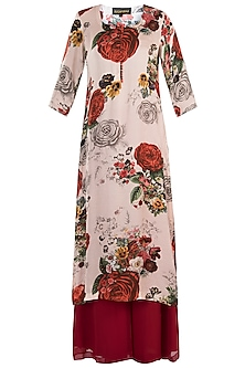 White printed rose kurta with red pants