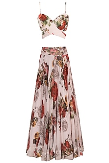 White printed rose crop top with maxi skirt
