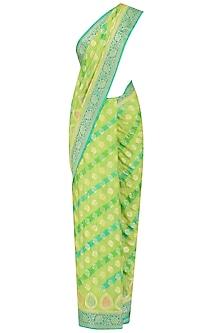 Green Art Work Chiffon Saree