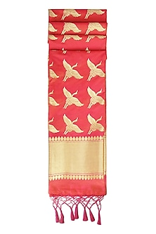Red and Gold Banarasi Paudi Silk Dupatta