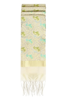 Ivory, Sea Green and Gold Kora Silk Dupatta