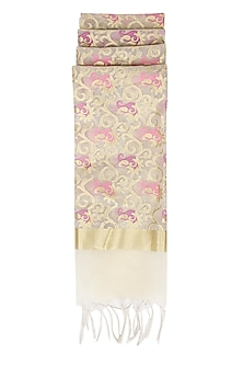 Ivory, Pink and Gold Kora Silk Dupatta