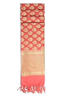 Coral and Gold Banarasi Paudi Silk Dupatta