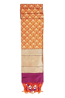 Orange, Purple and Gold Banarasi Paudi Silk Dupatta