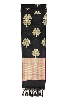 Black, Purple and Gold Banarasi Paudi Silk Dupatta