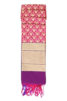 Pink, Purple and Gold Banarasi Paudi Silk Dupatta