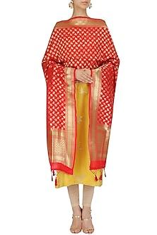 Red and Gold Motifs Banarasi Dupatta