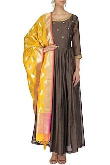 Yellow and Gold Motifs Banarasi Dupatta