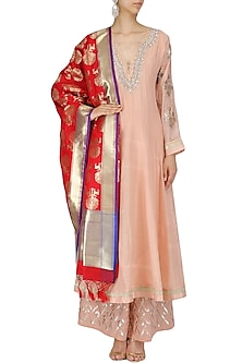 Red and Gold Deer Image Embroidered Dupatta