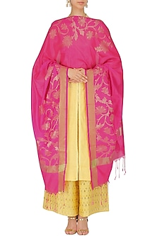 Pink and Gold Floral Embroidered Banarasi Dupatta