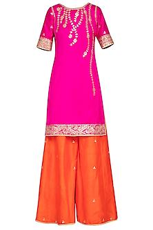 Pink and orange embroidered kurta set