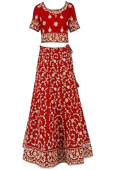 Bright Red Zardozi Embroidered Lehenga Set