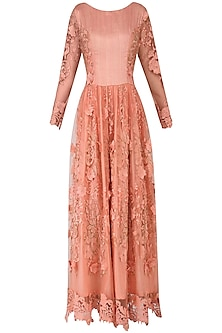 Peach Floral Lace Embellished Cutwork Gown